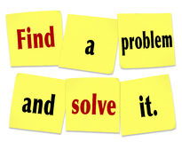 Find a Problem and Solve It Words Sticky Notes New Business Royalty Free Stock Photography
