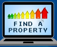 Find A Property Representing Home Search 3d Illustration. Find A Property Laptop Representing Home Search 3d Illustration Stock Image