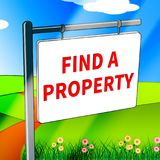Find A Property Shows Home Search 3d Illustration. Find A Property Showing Home Search 3d Illustration Royalty Free Stock Photo