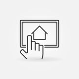 Find real estate via tablet. Vector outline sign or design element Royalty Free Stock Image