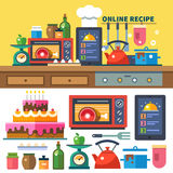 Find recipes online. Kitchen and cooking Royalty Free Stock Photo