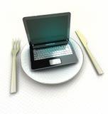 Find restaurant or order meal on internet render Royalty Free Stock Images