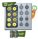 Find right gears. Visual Game for children. Task:  find right gears Stock Photography