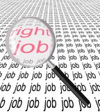 Find the right job. A magnifying glass looking for the right job Stock Photo