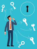 Find the right key. Businessman try to choose the right key for the key hole. Abstract illustration representing finding right solution for solving problem Royalty Free Stock Photography