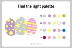 Find the right palette to the picture, eggs in cartoon style, easter education paper game for the development of children, kids. Preschool activity, printable royalty free illustration