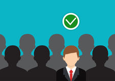 Find the right person. Concept of job, human resource. Choosing the right person. Flat vector isolated on background. Find the right person. Concept of job Stock Photo