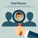 Find the right person for the job concept. Hiring and recruiting new employees. Flat vector design Stock Images