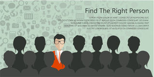 Find the right person for the job concept. Hiring and recruiting new employees. Flat vector design Royalty Free Stock Image