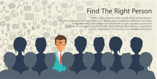 Find the right person for the job concept. Hiring and recruiting new employees. Flat vector design Royalty Free Stock Photography