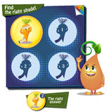 Find the right shade carrot. Visual Game for children. Task: Find the right shade Stock Image