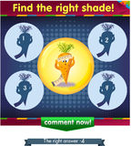 Find the right shade carrot. Visual Game for children. Task: Find the right shade Stock Photo