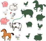 Find the right shade. Educational children matching game with farm animals for children of preschool age
