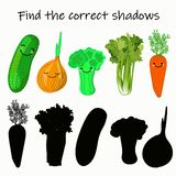 Find the right shade of vegetable. Educational game for children. Find the right shadow. Kids activity with cartoon vegetables stock illustration