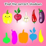 Find the right shade of vegetable. Educational game for children. Find the right shadow. Kids activity with cartoon vegetables royalty free illustration