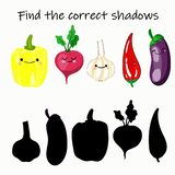 Find the right shade of vegetable. Educational game for children. Find the right shadow. Kids activity with cartoon vegetables vector illustration