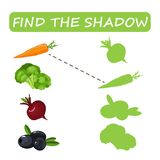 Find the right shade of vegetables. Carrots with olives and zucchini with borax. Set to find the correct shadow matching educational game of the child to Royalty Free Stock Image