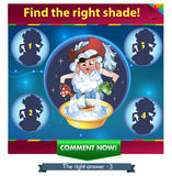 Find the right shade!. Visual Game for children. Task: Find the right shade Stock Photography