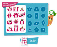 Find right shadom Geometric shapes. Visual Game for children. Task:  find right shadom! Geometric shapes in the form of an owl Stock Image