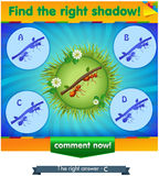 Find right shadow ants 2. Visual game for children and adults. Task the find right shadow ants Royalty Free Stock Images
