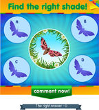 Find right shadow butterfly. Visual game for children and adults. Task the find right shadow butterfly Royalty Free Stock Images