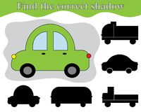 Find the right shadow of car. Shadow matching kid`s game. Activity for preschool children. Find the right shadow of car. Shadow matching kid`s game. Activity Stock Image