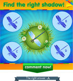 Find right shadow dragonfly. Visual game for children and adults. Task the find right shadow dragonfly Stock Image