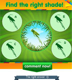 Find right shadow grasshopper 2. Visual game for children and adults. Task the find right shadow grasshopper Stock Photo