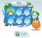 Find the right shadow 2. Visual game for children and adults. Task- find the right shadow penguin Royalty Free Stock Photos