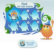 Find the right shadow 2. Visual game for children and adults. Task- find the right shadow penguin Stock Photography
