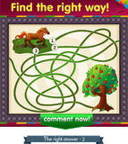 Find the right way  apple. Visual Game for children. Task: find the right way Royalty Free Stock Images