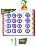 Find the right way button 2. Visual Game for children. Task: Find the right way at the stitches button Stock Photo