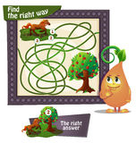 Find the right way  horse. Visual Game for children. Task: find the right way Royalty Free Stock Image