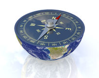 Find the right way. One earth globe divided into two parts, with a compass; concept of travel, but also as metaphor of finding the right way; earth map courtesy Royalty Free Stock Image
