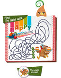 Find the right way. Visual Game for children. Task: Find the right way Stock Image