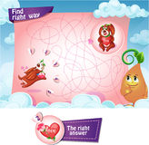 Find right way. Visual Game for children. Task Find right way Stock Images
