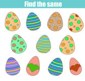 Find the same children game, kids activity worksheet. Easter holidays theme Royalty Free Stock Photos
