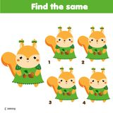 Find the same pictures children educational game. Animals theme activity for kids with cartoon squirrel. Find the same pictures children educational game Stock Photos