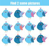Find the same pictures children educational game. Animals theme. Find the same pictures children educational game. Find equal pairs of birds kids activity Royalty Free Stock Photo
