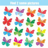 Find the same pictures children educational game. Animals theme. Find the same pictures children educational game. Find equal pairs of butterflies kids activity Stock Images