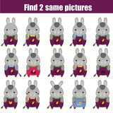 Find the same pictures children educational game. Animals theme. Find the same pictures children educational game. Find equal pairs of donkey kids activity Royalty Free Stock Photos