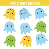 Find the same pictures children educational game. Animals theme. Find the same pictures children educational game. Find equal pairs of octopus kids activity Royalty Free Stock Images