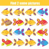 Find the same pictures children educational game. Animals theme. Find the same pictures children educational game. Find equal pairs of fish kids activity vector illustration