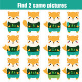 Find the same pictures children educational game. Animals theme Stock Photography