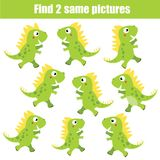 Find the same pictures children educational game. Animals theme, green dinosaurs. Find the same pictures children educational game. Find equal pairs of dino kids Stock Photography