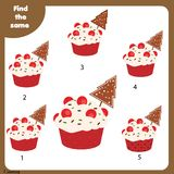 Find the same pictures children educational game. Christmas , New Year theme. Find the same pictures children educational game. Find equal pairs of cupcakes kids Stock Images