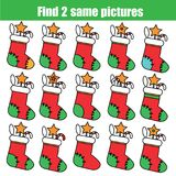 Find the same pictures children educational game. Christmas, winter holidays theme. Find the same pictures children educational game. Find equal pairs of Stock Photography