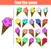 Find the same pictures children educational game. Find equal ice cream kids activity Stock Photography