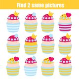 Find the same pictures children educational game. Find pairs of princess cupcakes. Find the same pictures children educational game. Find equal pairs of princess Stock Photography