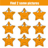 Find the same pictures children educational game Royalty Free Stock Image